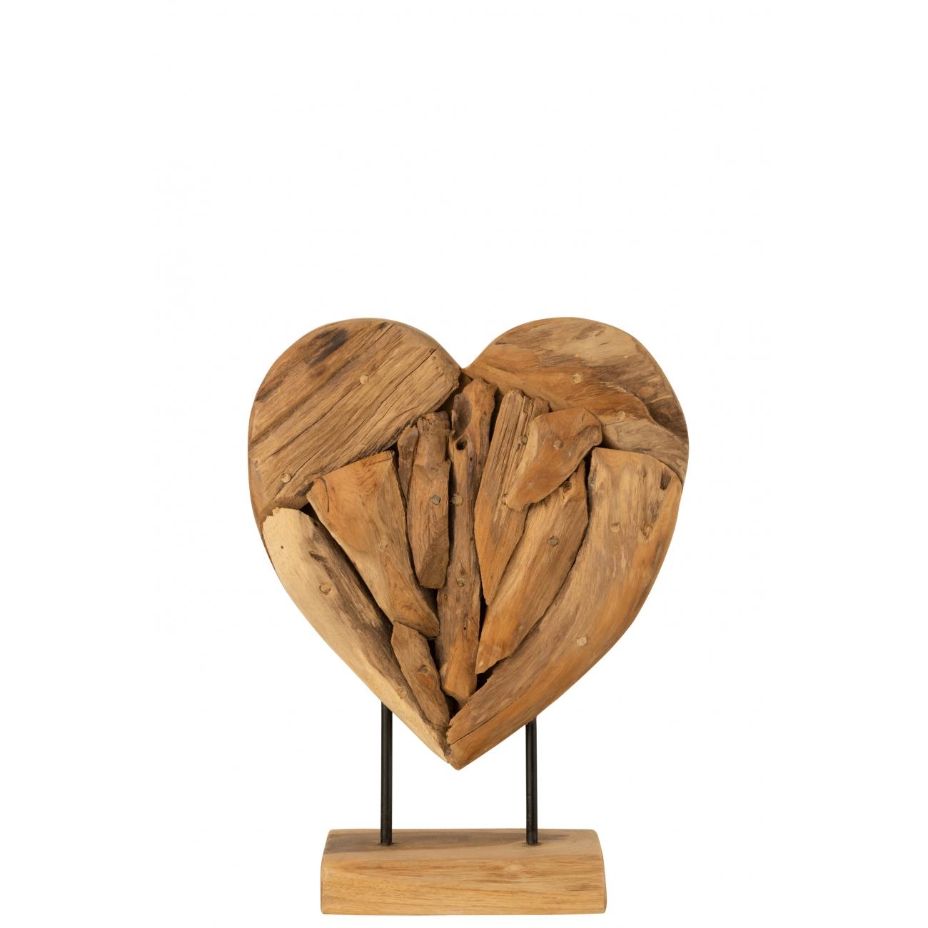 Статуэтка сердце любовь J-LINE деревянная настольная высота 40 см Бельгия