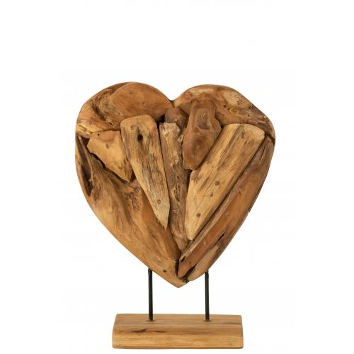 Статуэтка сердце J-LINE деревянная настольная высота 50 см Бельгия