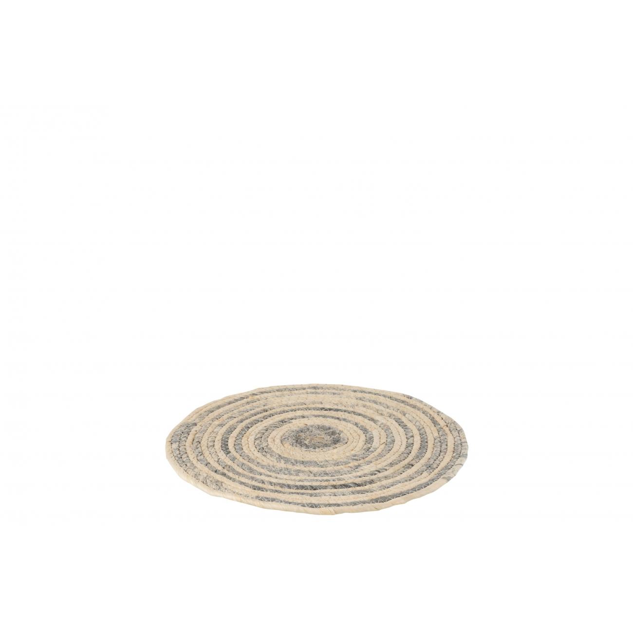 Сервировочный круглый коврик J-LINE из ротанга и камыша бежево-серого цвета 35 см Бельгия