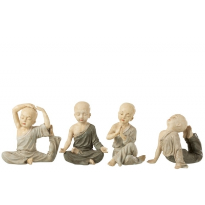 Набор статуэток J-LINE четыре монаха занимаются йогой высота 22 см Бельгия