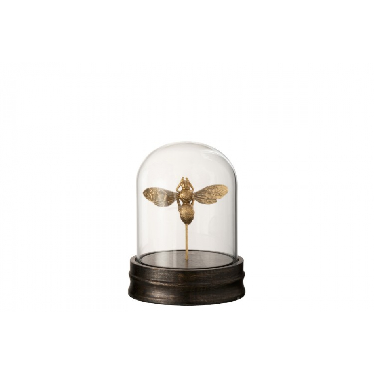 Статуэтка бабочка J-LINE под стеклянным куполом золотистая высота 18 см Бельгия