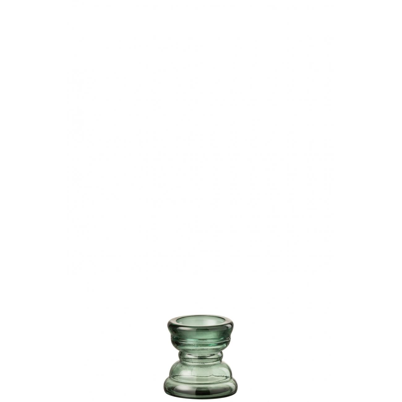 Подсвечник J-LINE стеклянный фигурный зеленого цвета высота 12 см Бельгия