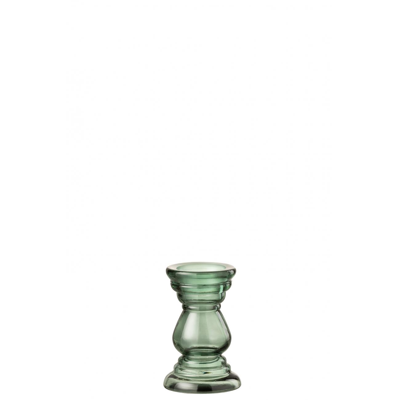 Подсвечник J-LINE стеклянный фигурный зеленого цвета высота 20 см Бельгия