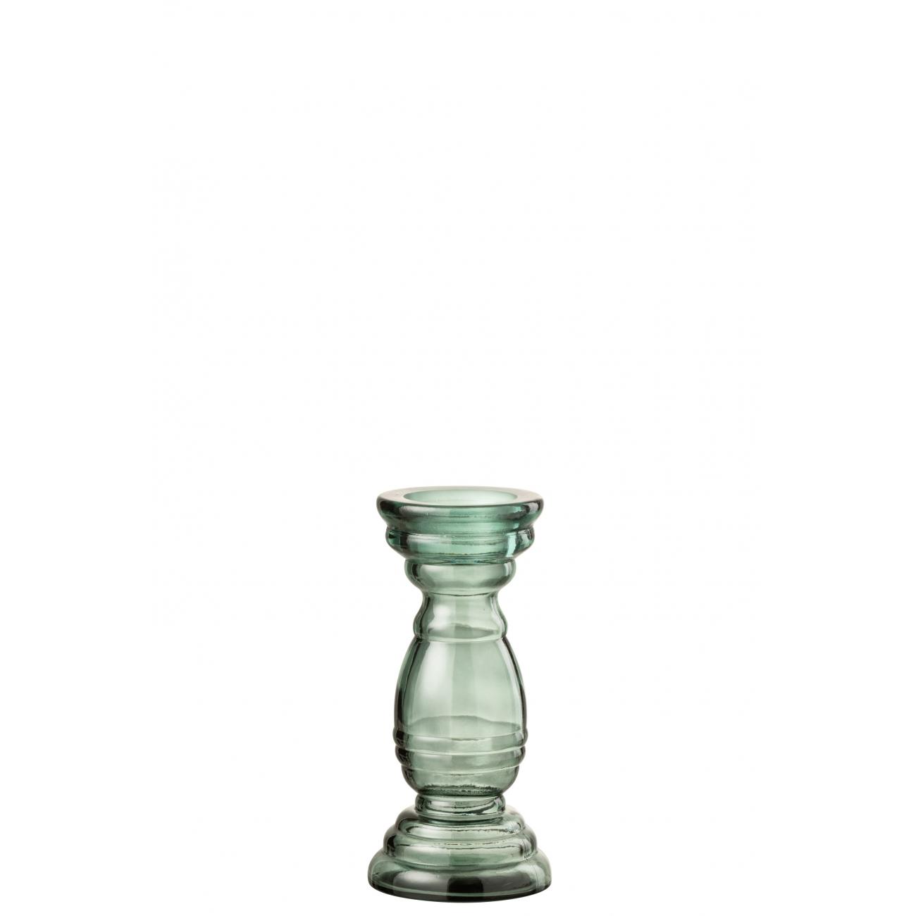 Подсвечник J-LINE стеклянный фигурный зеленого цвета высота 28 см Бельгия