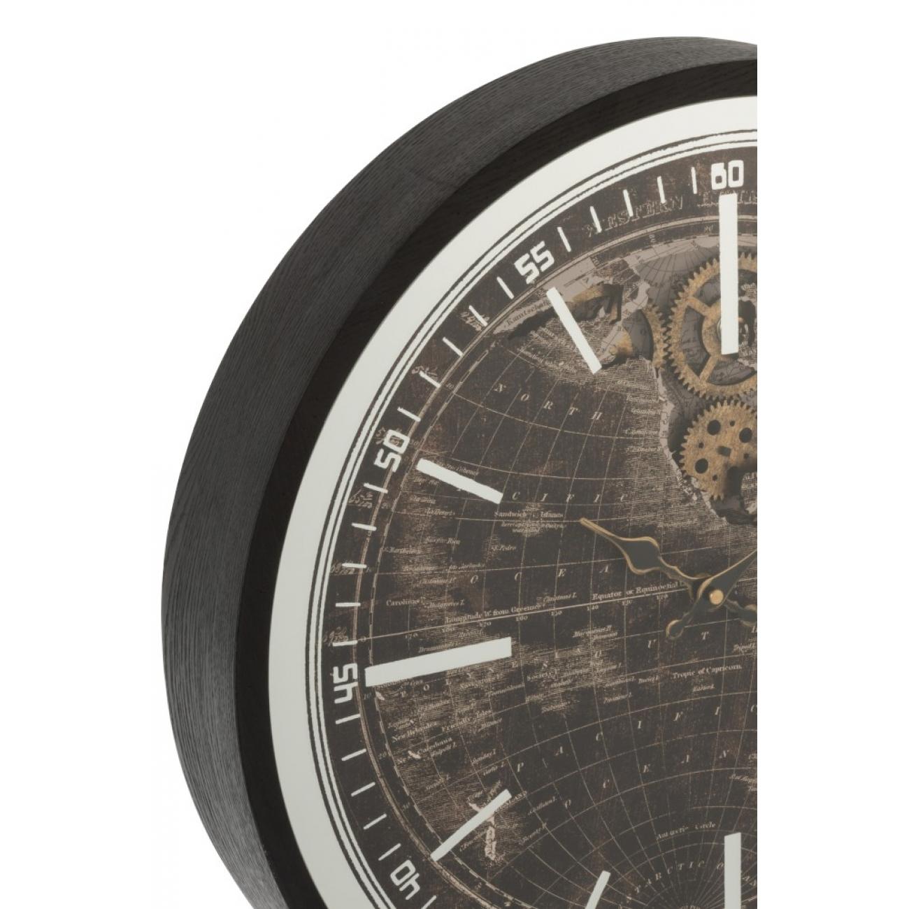 Настенные часы  J-LINE круглые в деревянной основе с видимым часовым механизмом черные  диаметр 48 см