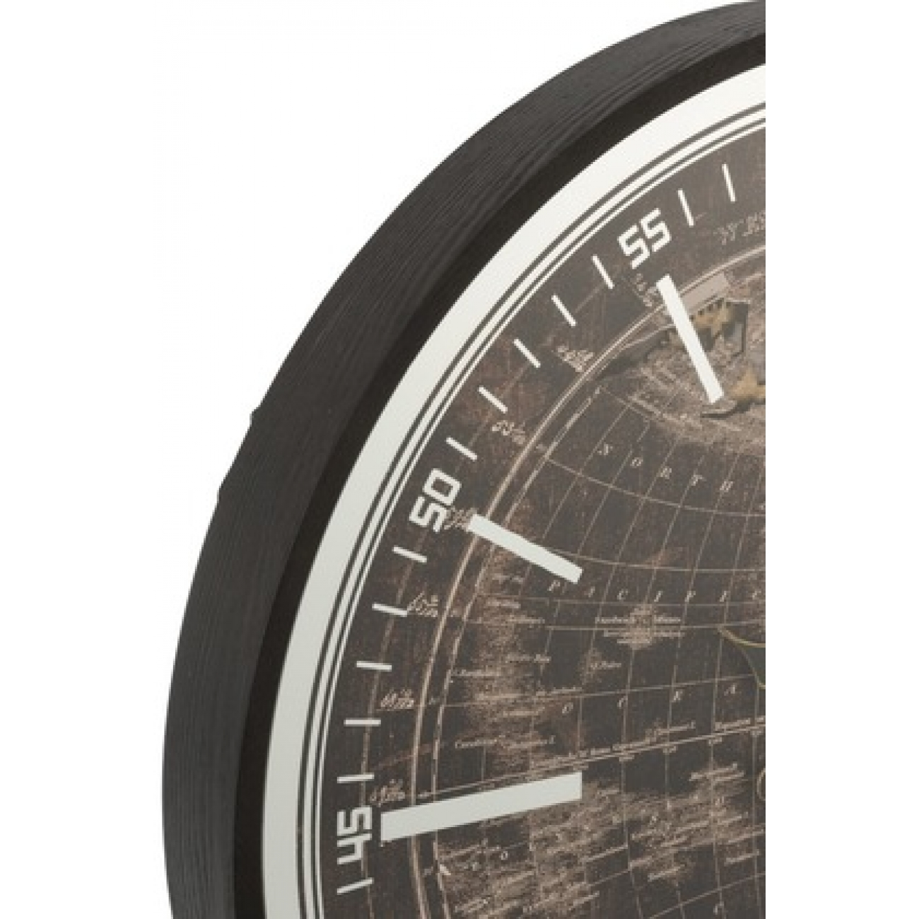 Настенные часы  J-LINE круглые в деревянной основе с видимым часовым механизмом черные  диаметр 80 см