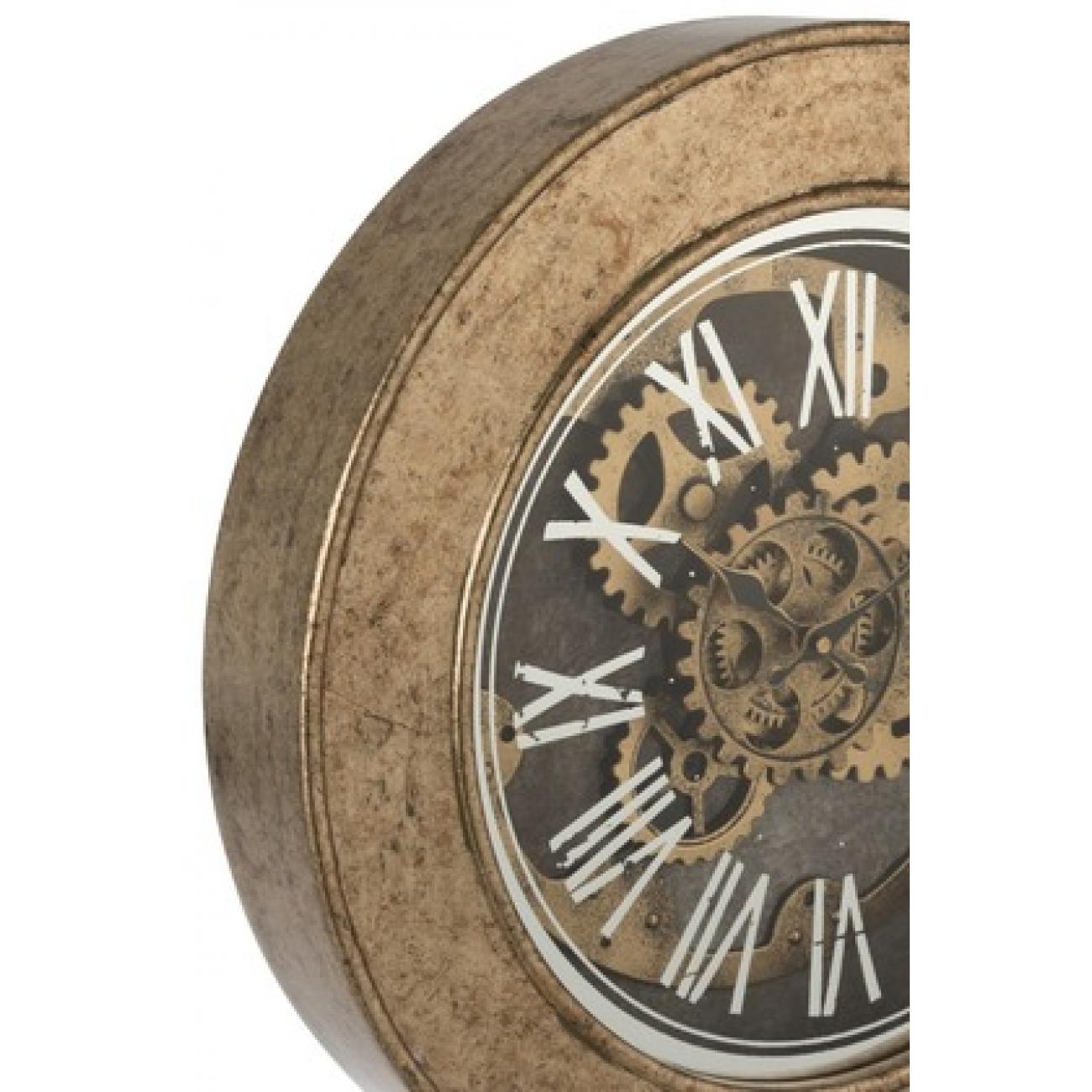 Настенные часы  J-LINE круглые в деревянной основе с видимым часовым механизмом диаметр 50 см