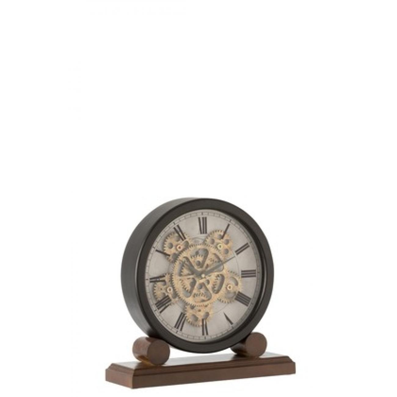 Настольные часы  J-LINE круглые на деревянной подставке с видимым часовым механизмом