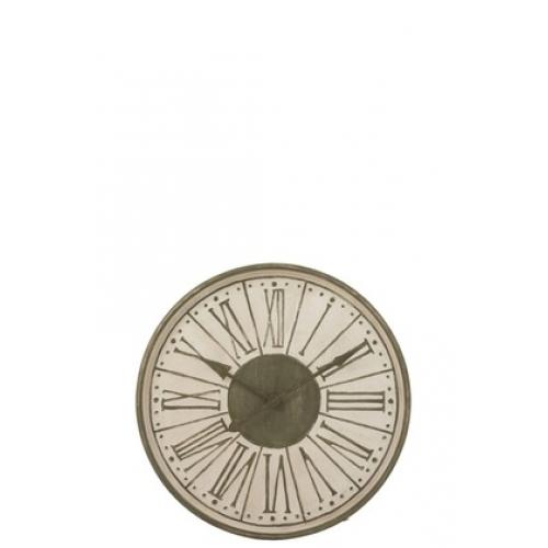 Настенные часы J-LINE круглые в металлическом корпусе цвета хаки диаметр 82 см