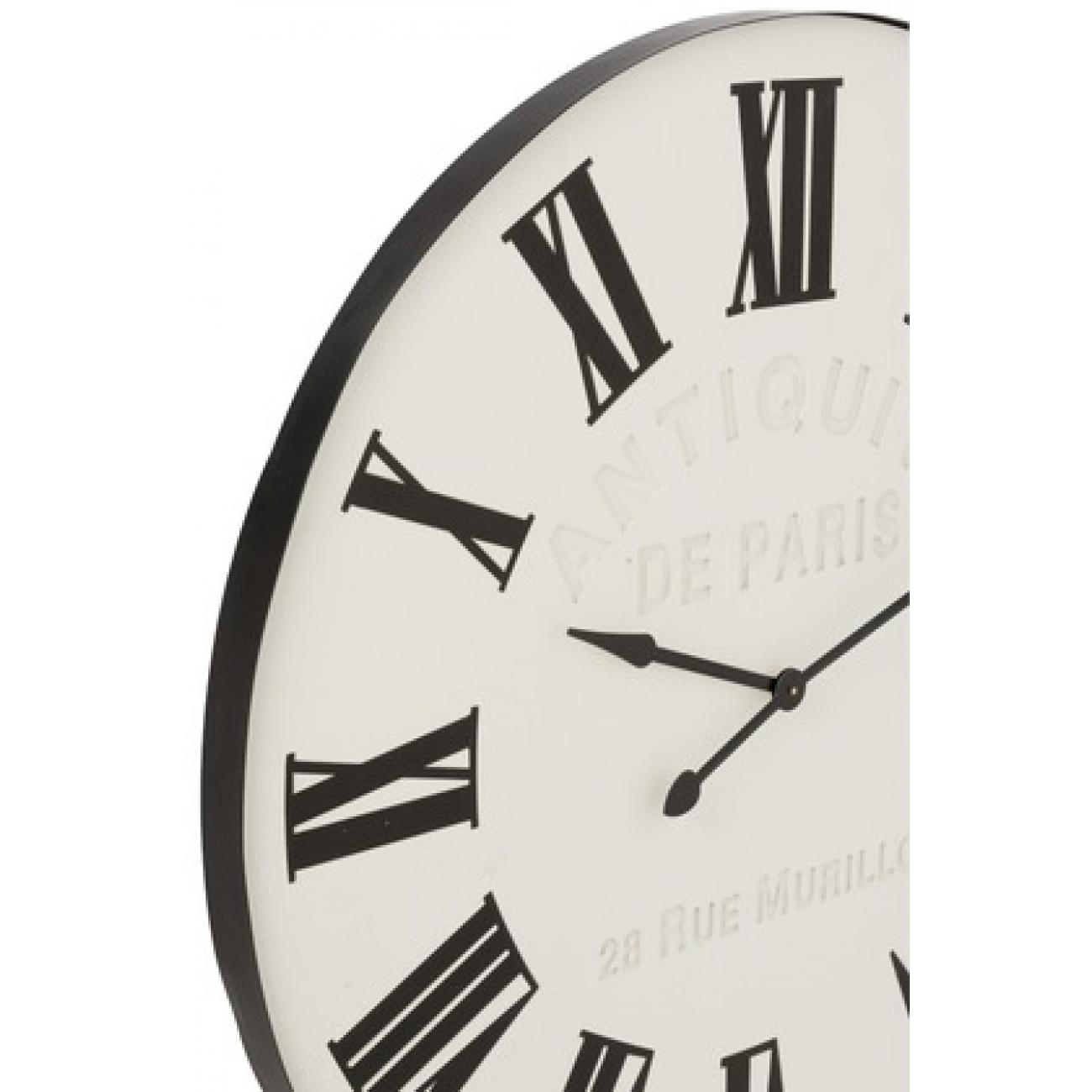 Настенные часы J-LINE белые круглые в металлическом черном корпусе диаметр 107 см