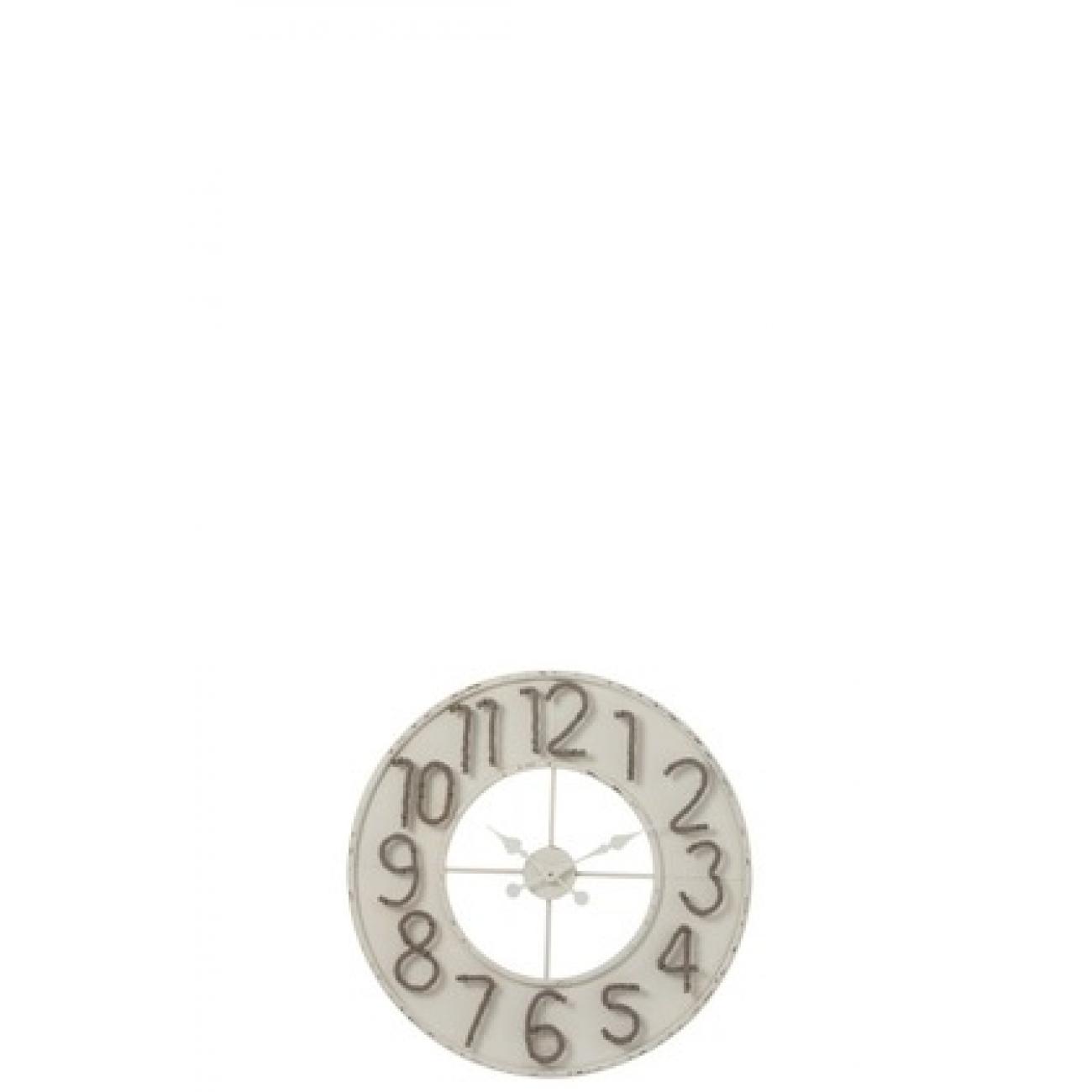 Настенные часы J-LINE белые круглые в металлическом корпусе с цифрами из тонкого каната диаметр 60 см