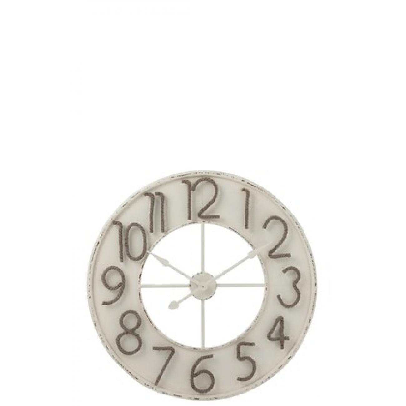 Настенные часы J-LINE белые круглые в металлическом корпусе с цифрами из тонкого каната диаметр 91 см