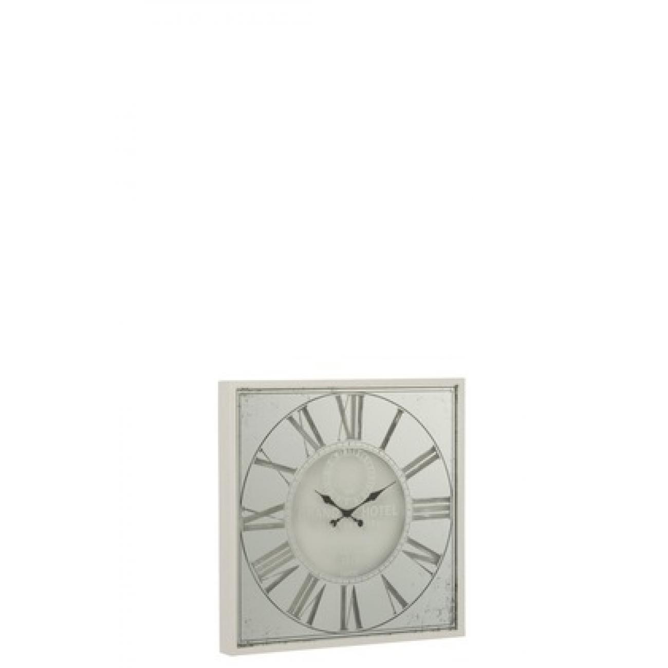 Настенные часы J-LINE квадратные белые в зеркальном корпусе 60х60 см