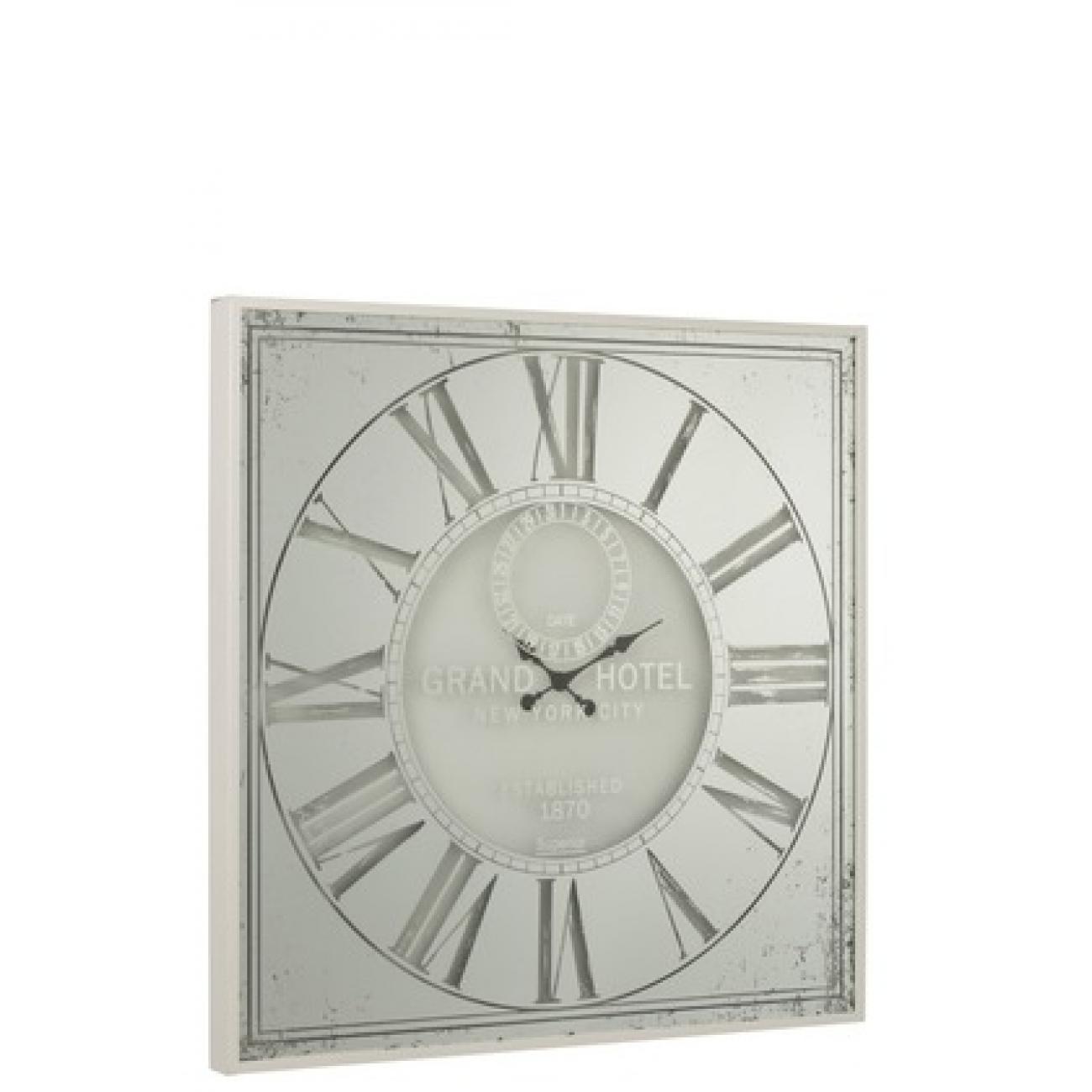 Настенные часы J-LINE квадратные белые в зеркальном корпусе  100х100 см