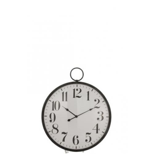 Настенные часы J-LINE круглые в черном металлическом корпусе с выпуклым стеклом диаметр 71 см