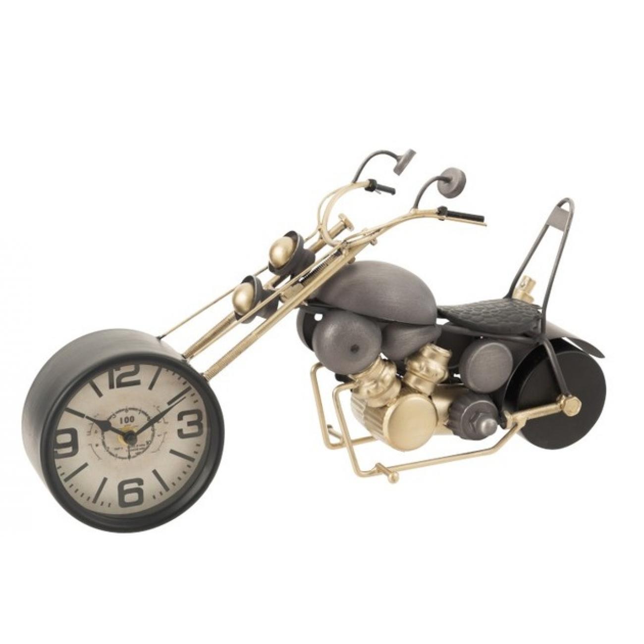 Настольные часы  в форме мотоцикла байка  J-LINE металлические серые с золотым