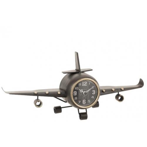 Настольные часы в форме самолета  J-LINE металлические серые длина 41 см