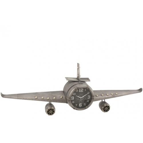 Настольные часы  в форме самолета  J-LINE металлические серые длина 143 см