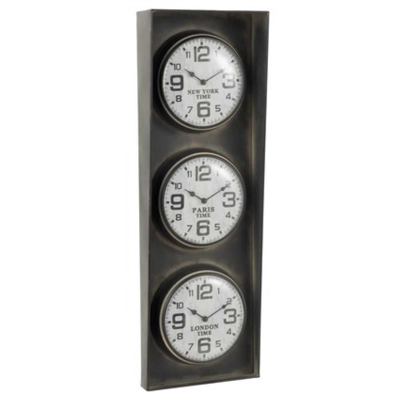 Настольные часы  J-LINE металлические черные с тремя часовыми поясами