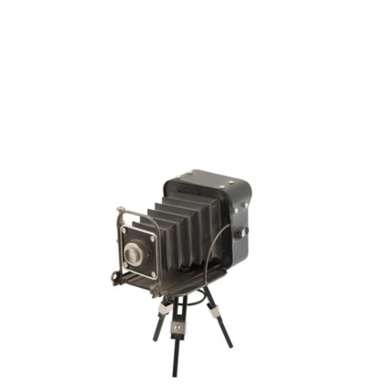 Настольные часы J-LINE в форме старой фотокамеры на штативе металлические черные