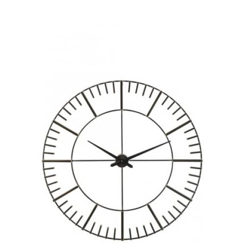 Настенные часы J-LINE круглые черные в металлическом корпусе диаметр 96 см