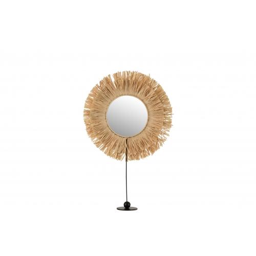 Зеркало J-LINE настольное фигурное круглое декорированное тростником на ножке высота 51 см Бельгия