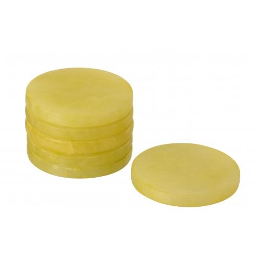 Подставки под чашки J-LINE камень желтого цвета  набор из 6-ти штук Бельгия