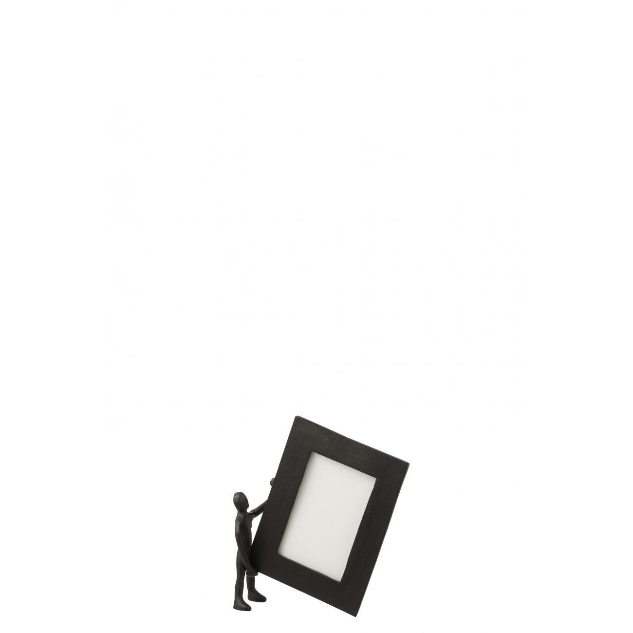 Фоторамка J-LINE металлическая черная с декором человечек 10x15 см Бельгия