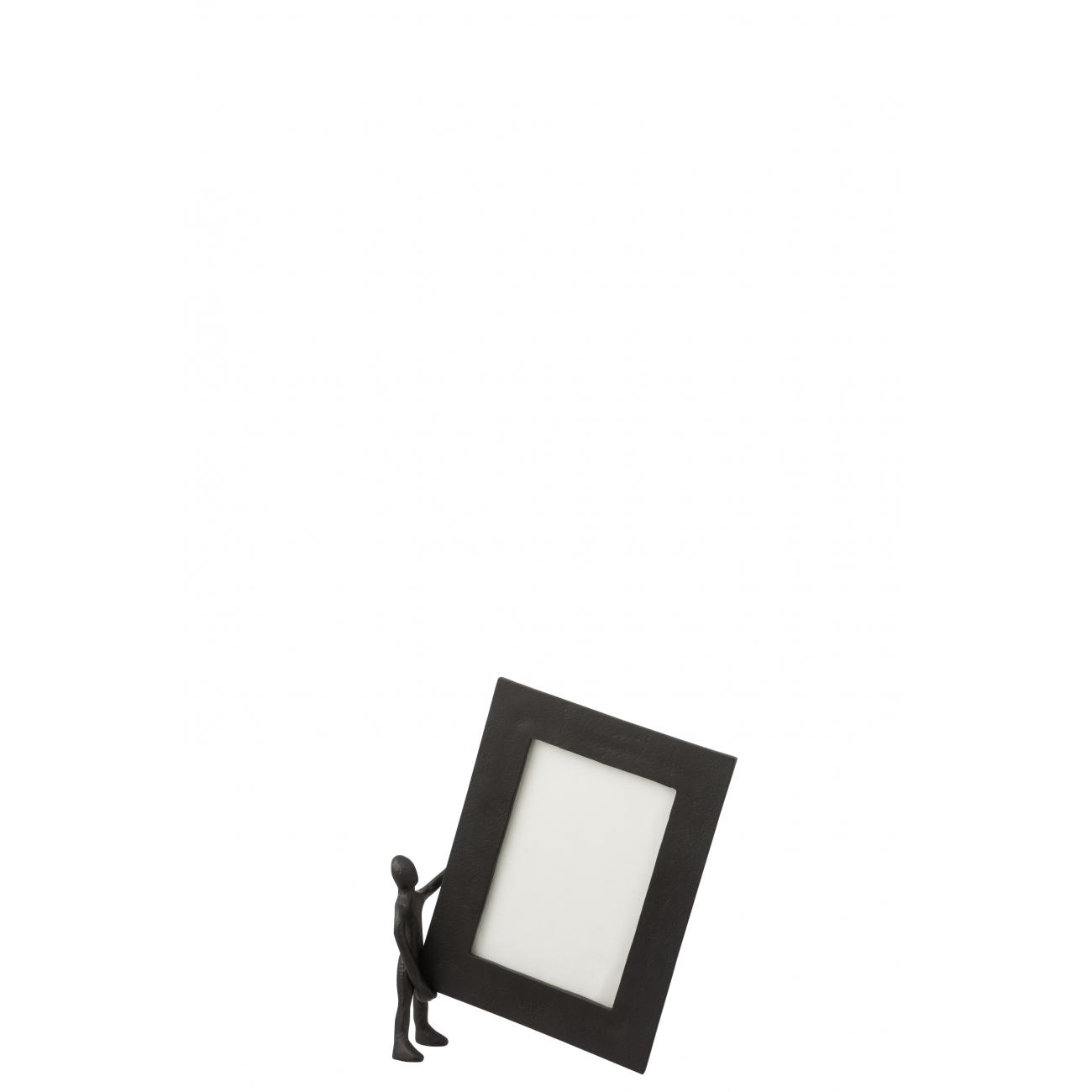 Фоторамка J-LINE металлическая черная с декором человечек 13x18 см Бельгия