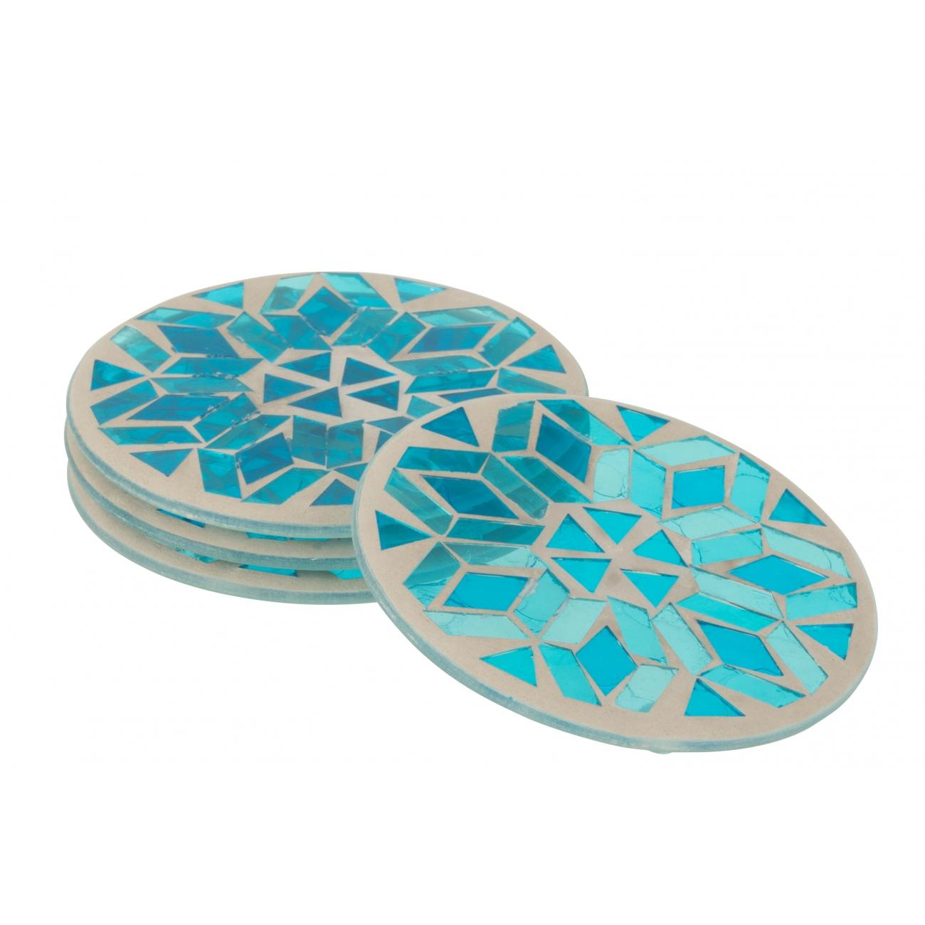 Подставки под чашки J-LINE стеклянная мозаика голубого цвета  набор из 4-х штук Бельгия