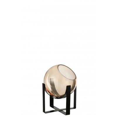Ваза J-LINE стеклянная коричневая охрового оттенка на металлической черной подставке высота 19 см Бельгия