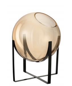 Ваза J-LINE стеклянная коричневая охрового оттенка на металлической черной подставке высота 38 см Бельгия