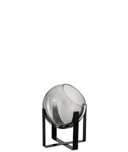 Ваза J-LINE стеклянная серого оттенка на металлической черной подставке высота 21 см Бельгия