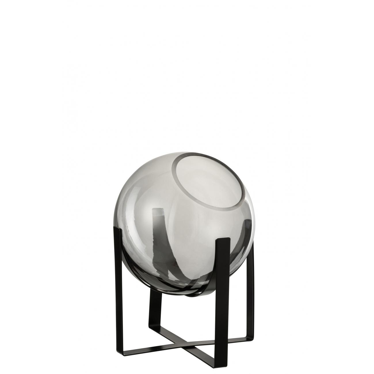 Ваза J-LINE стеклянная серого оттенка на металлической черной подставке высота 28 см Бельгия