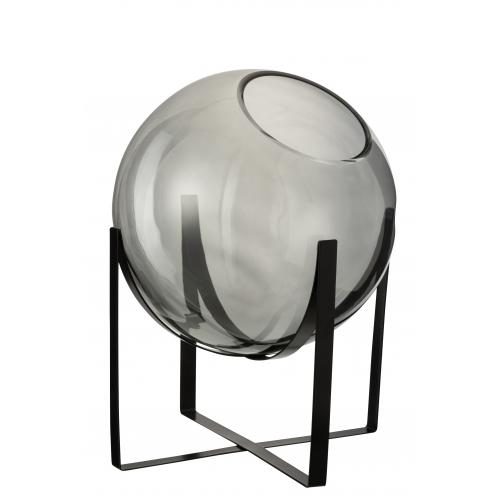 Ваза J-LINE стеклянная серого оттенка на металлической черной подставке высота 38 см Бельгия