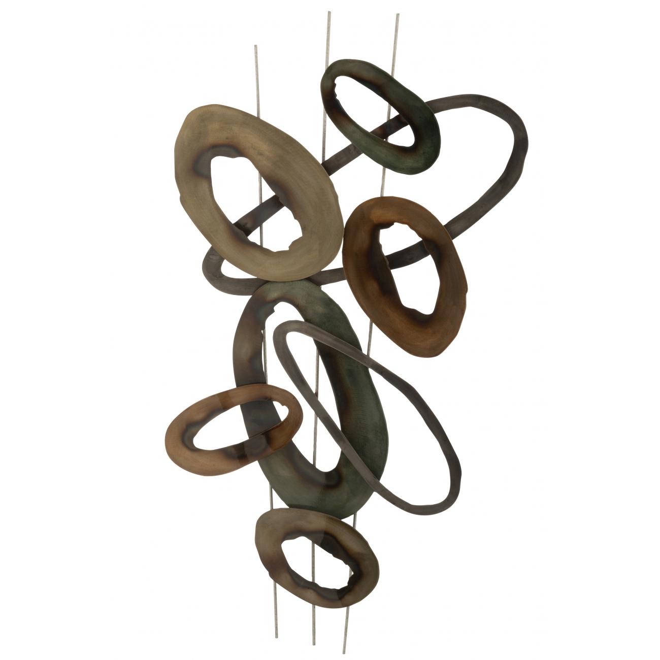 Панно J-LINE настенный декор металлический в коричневом и зеленом цвете 91х50 см Бельгия