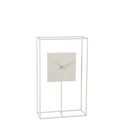 Настольные часы  J-LINE белые в металлическом корпусе