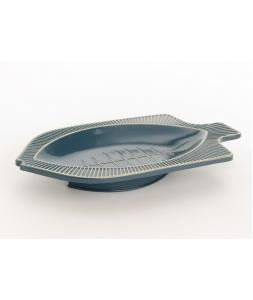 Блюдо AMADEUS сервировочное металлическое в форме для морепродуктов рыбы синее длина 31 см Франция