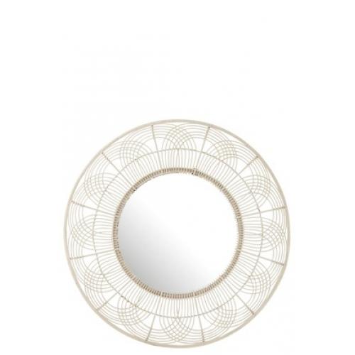 Круглое настенное зеркало J-LINE в раме из фигурно плетеного бамбука белое диаметр 111 см Бельгия