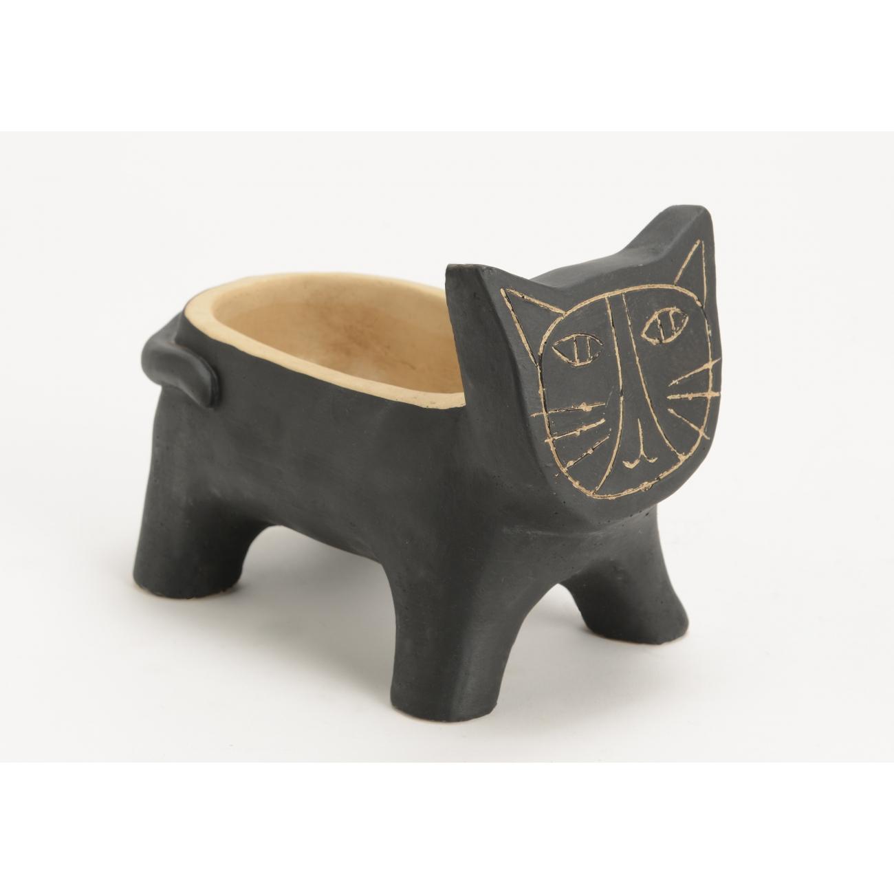 Кашпо AMADEUS в форме кота черного цвета длина 20 см Франция