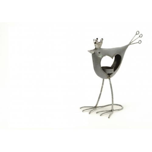 Подсвечник AMADEUS в форме птички с короной серый высота 24 см Франция