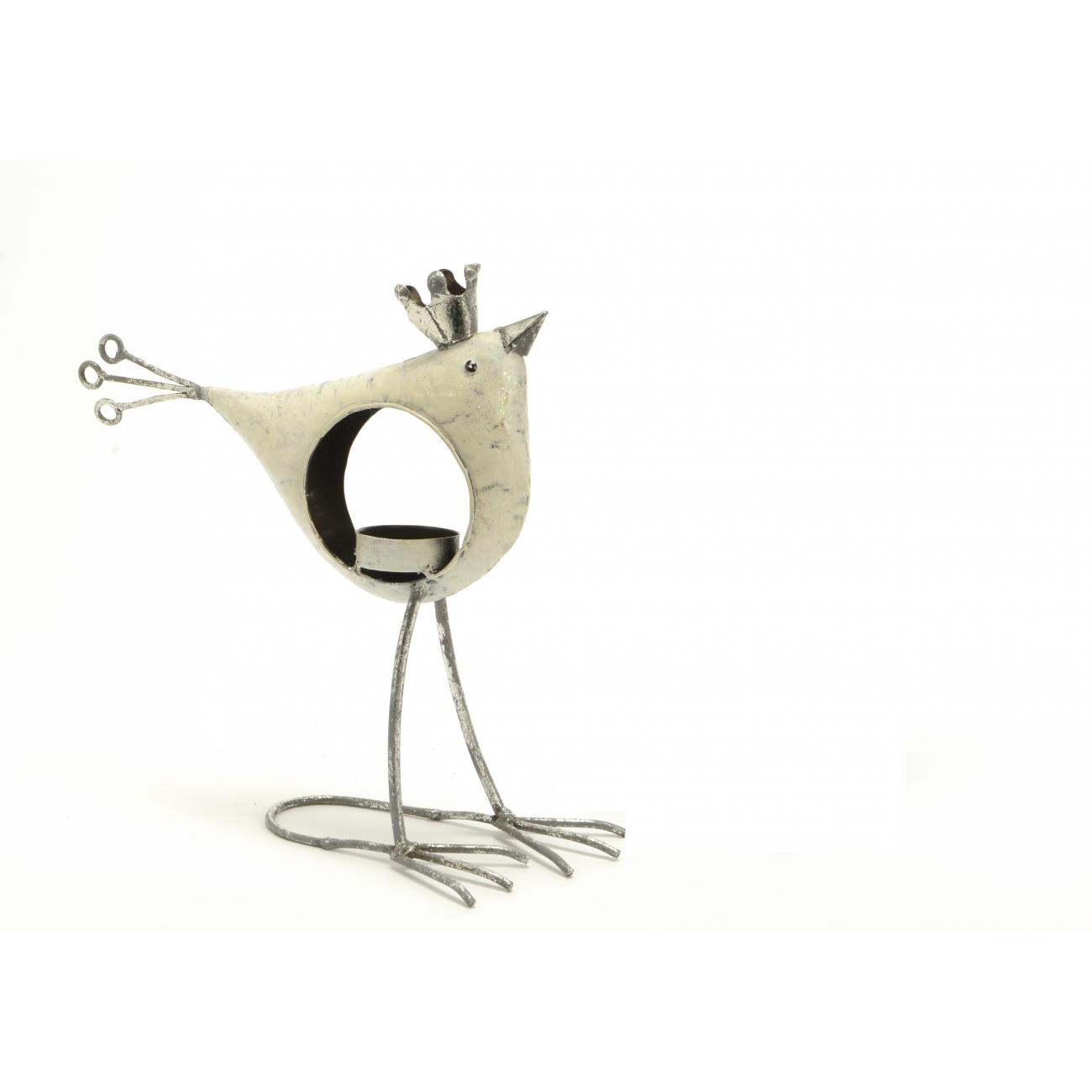 Подсвечник AMADEUS в форме птички с короной белый высота 24 см Франция