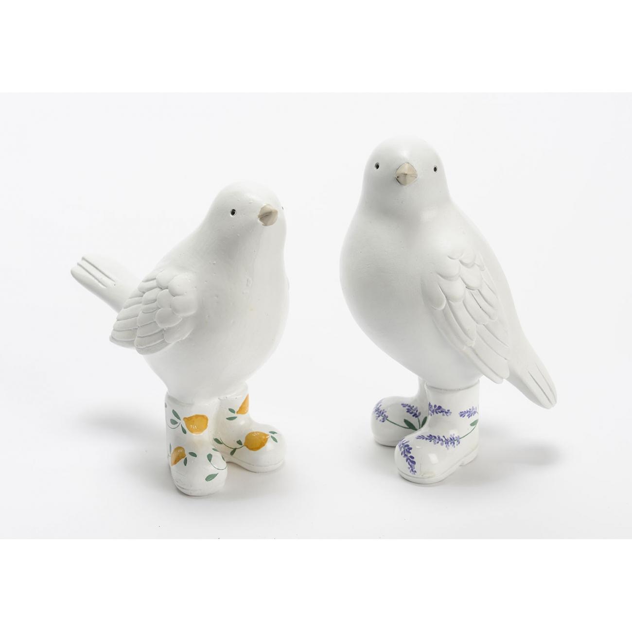 Статуэтки птицы  AMADEUS набор из двух птичек белом цвете в сапожках высота 15 см Франция