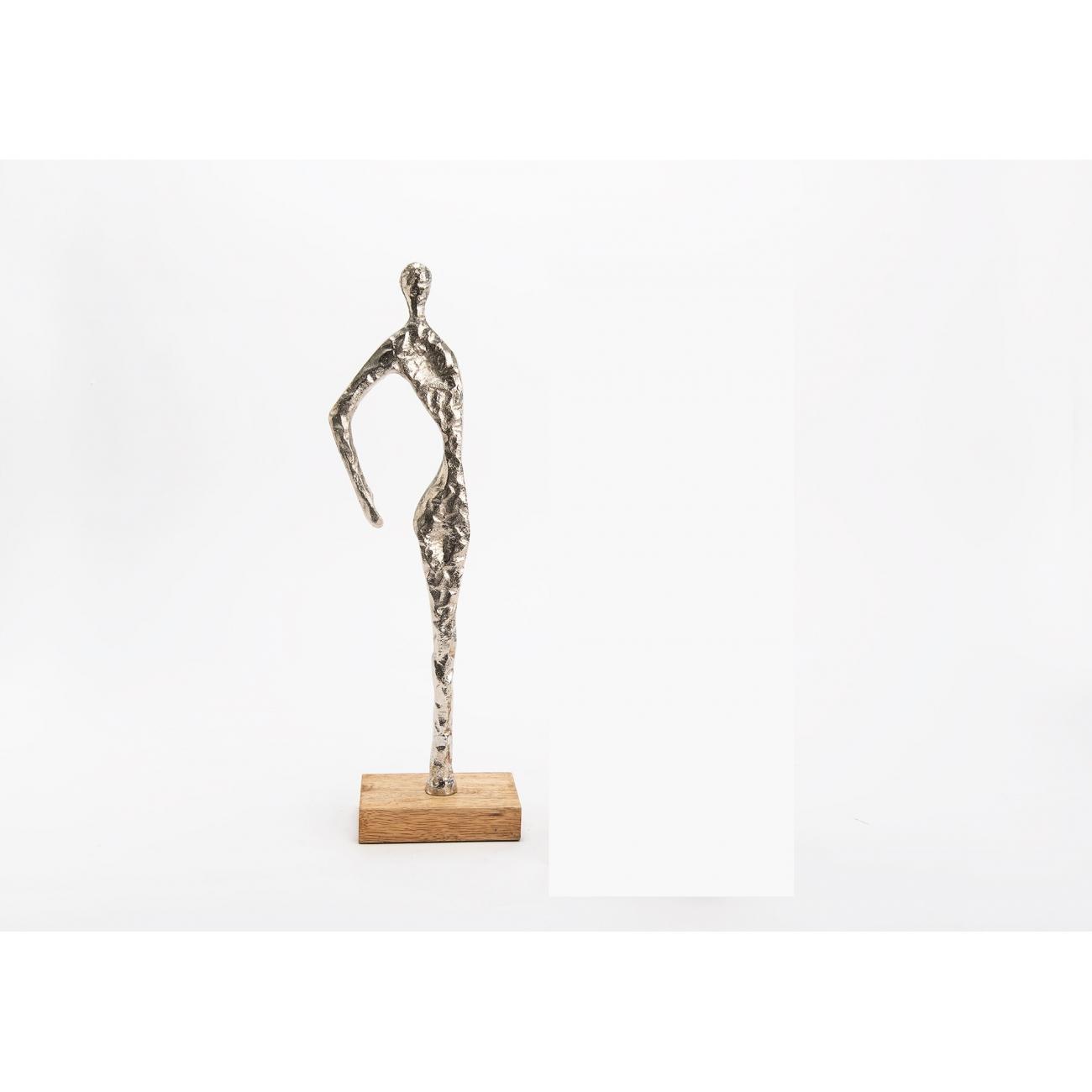Статуэтка AMADEUS Элегант серебристая дерево и алюминий высота 31 см Франция