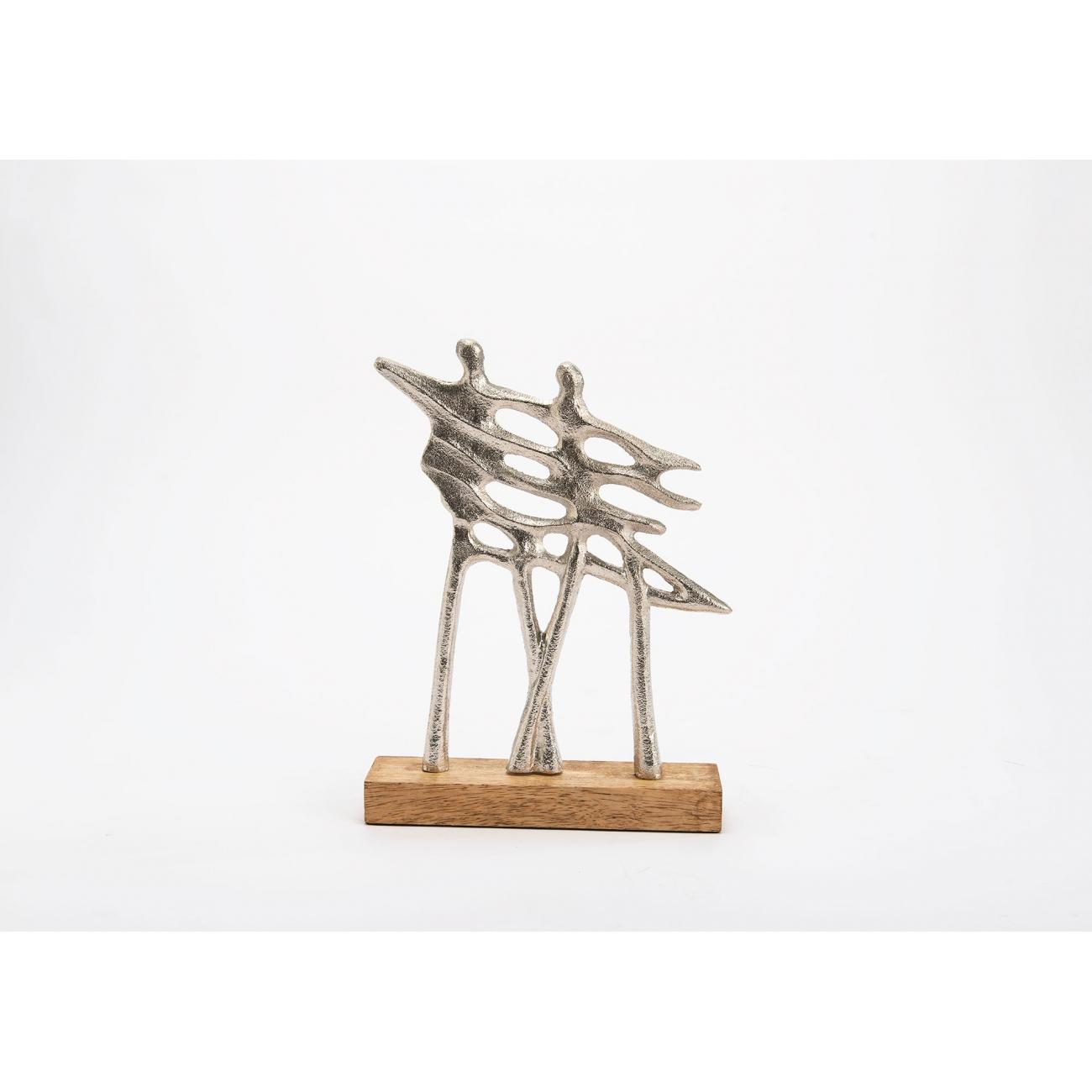 Статуэтка AMADEUS Модерн пара серебристая дерево и алюминий высота 29 см Франция