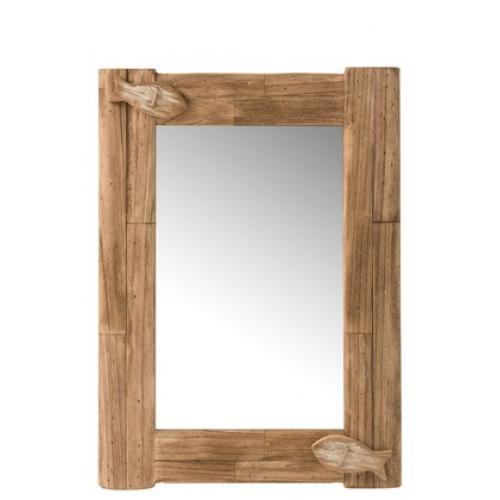 Прямоугольное настенное зеркало J-LINE в раме из натурального дерева с декоративными элементными коричневое 57х80 см Бельгия