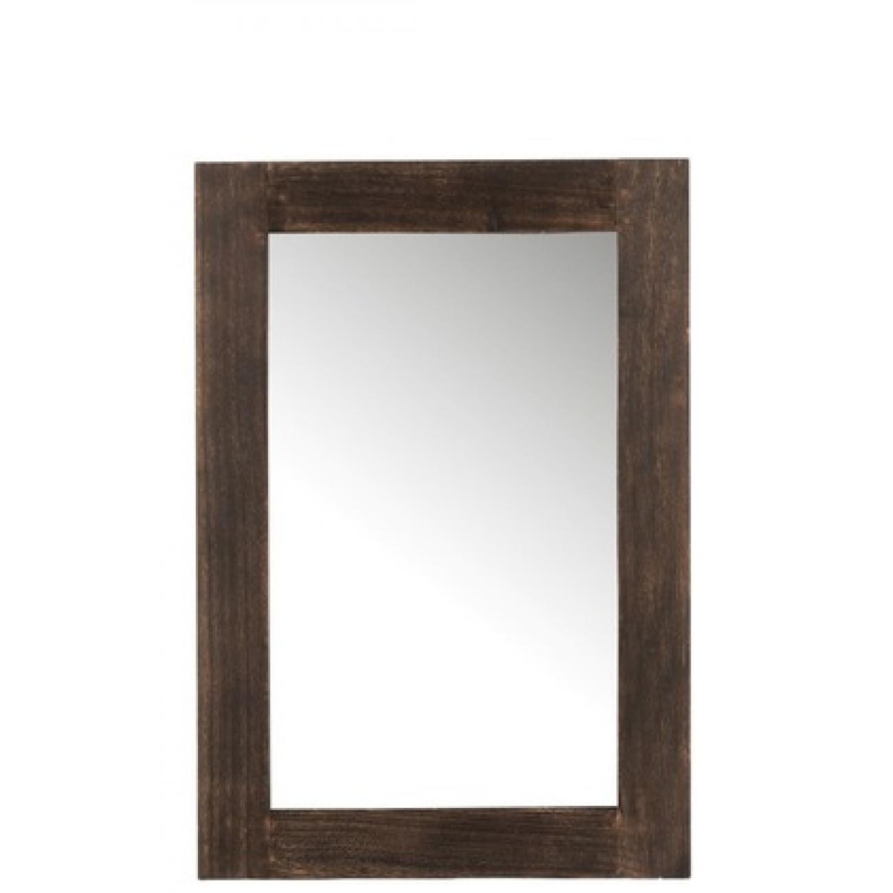 Прямоугольное настенное зеркало J-LINE в раме из натурального дерева коричневое 80х55 см Бельгия