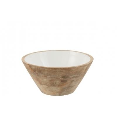 Блюдо салатник J-LINE из натурального дерева покрытого керамикой белый диаметр 23 см