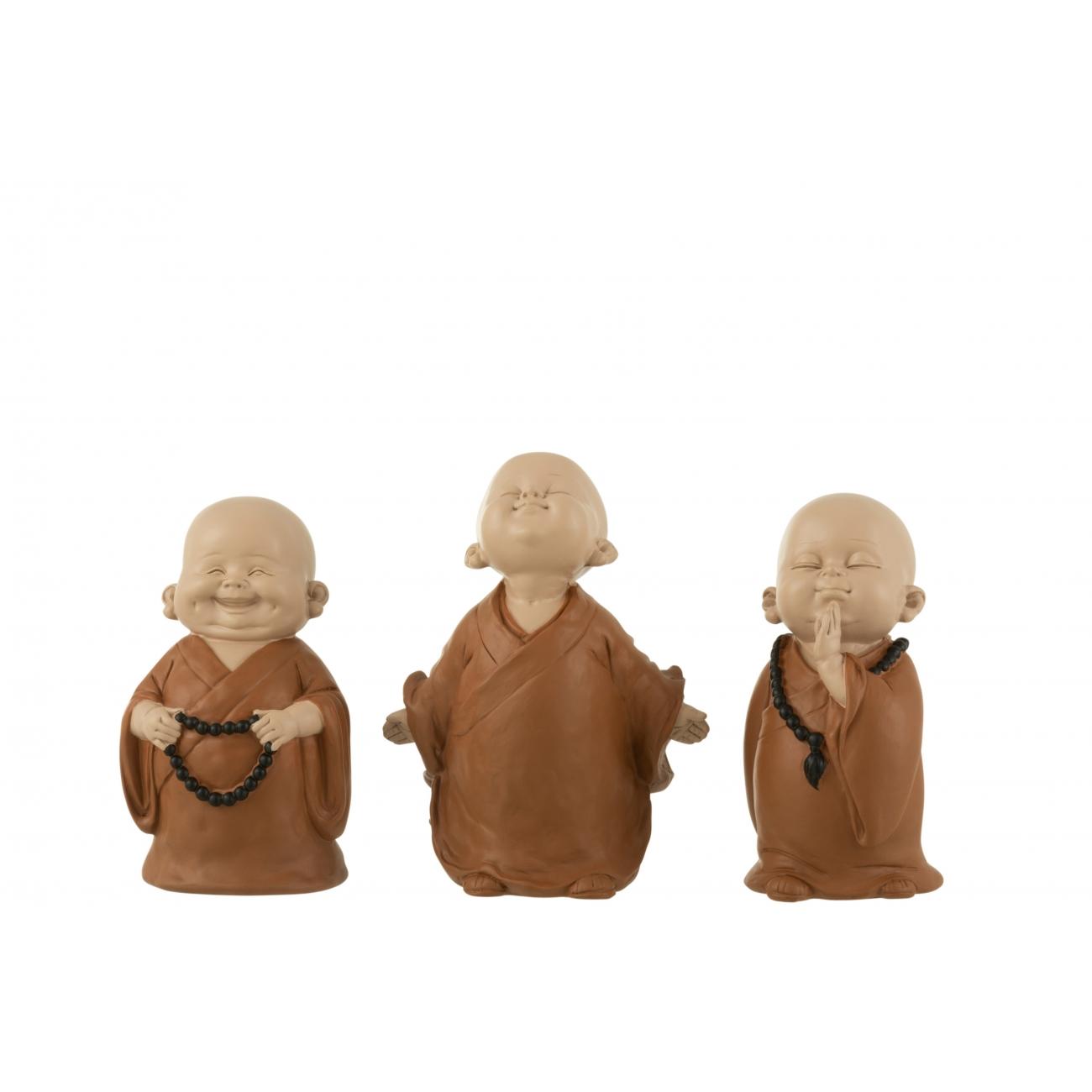 Монахи J-LINE набор из трех статуэток коричневого цвета высота 15 см Бельгия
