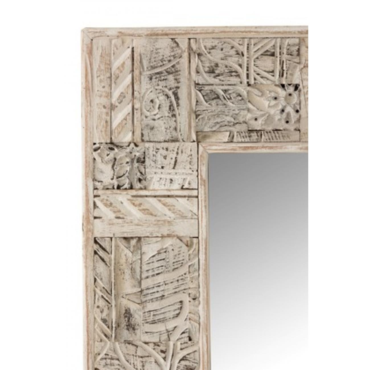 Прямоугольное настенное зеркало J-LINE в раме из натурального дерева с декоративными резными элементами 150х90 см Бельгия